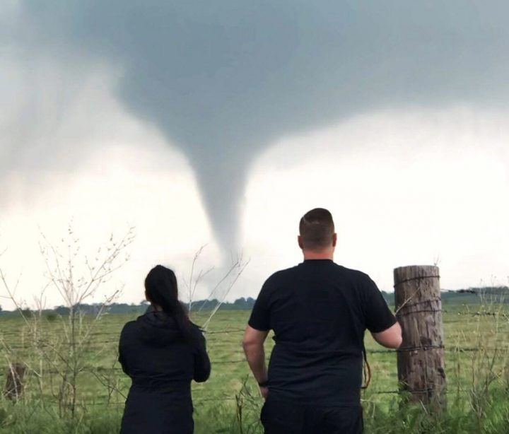 Nick and Ashleigh watch a tornado