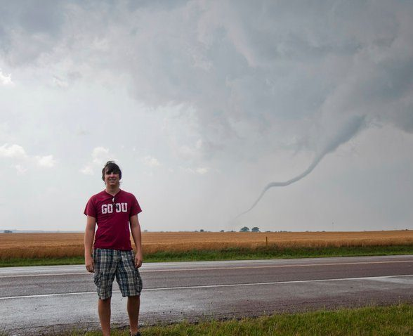 Meteorologist Kevin Rolfs in front of a tornado